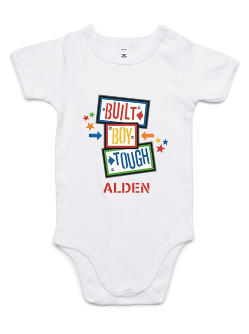 Built Tough Personalized Boy Baby Onesie / Top 10 Unisex Names
